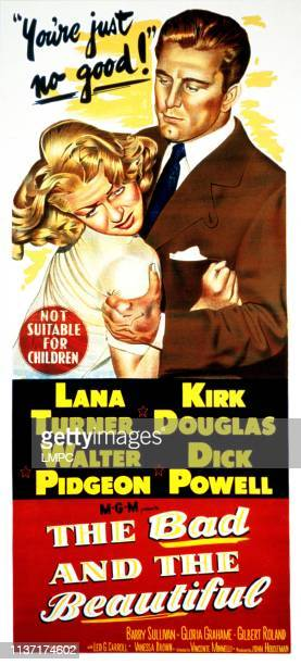 The Bad And The Beautiful poster Lana Turner Kirk Douglas 1952