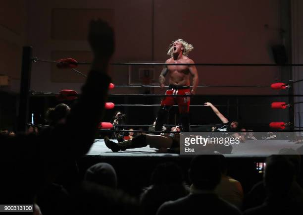 'The Bad Apple' Matt Macintosh celebrates his take down of Leon St Giovanni during Capitol Wrestling World War IV on December 29 2017 at Capitol...