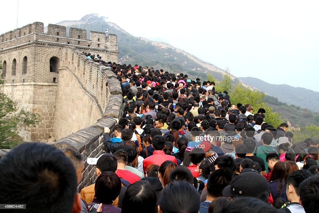 The Badaling Great Wall is crammed with tourists on the third day of the National Day holiday on October 3, 2014 in Beijing, China. China's golden-week National Day holiday is expected to bring a tourism peak throughout the country.