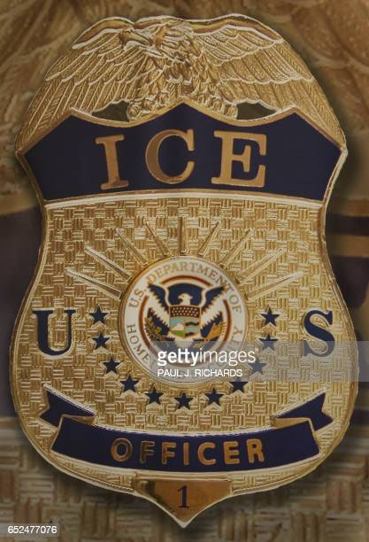 The badge and seal of the US Homeland Security Department of Immigration and Customs Enforcement taken 10 May 2007 is seen at Willacy Detention...