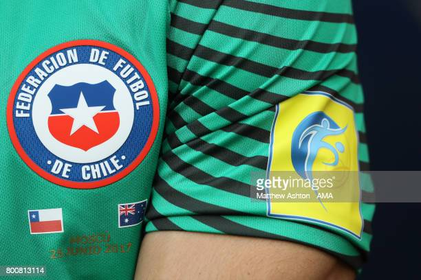 The badge of Chile on the goalkeeping shirt of Pablo Hernandez of Chile during the FIFA Confederations Cup Russia 2017 Group B match between Chile...