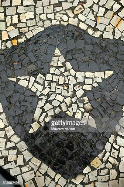 The badge of the Botafogo de Futebol e Regatas on Rua General Severiano in Rio de Janeiro, Brazil club camp General Severiano as a mosaic in the...