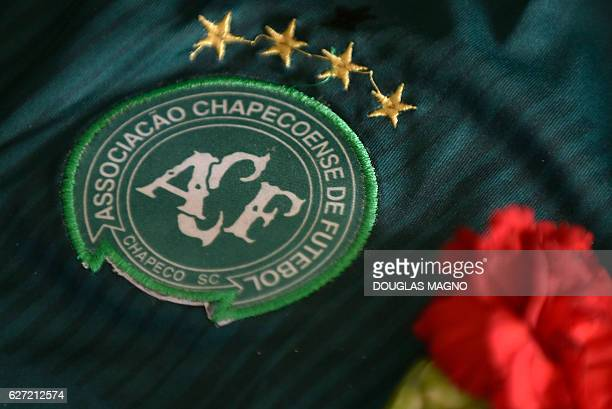 The badge of the Chapecoense Real Brazilian football team most of whose members were killed in a November 28 plane crash in the Colombian mountains...
