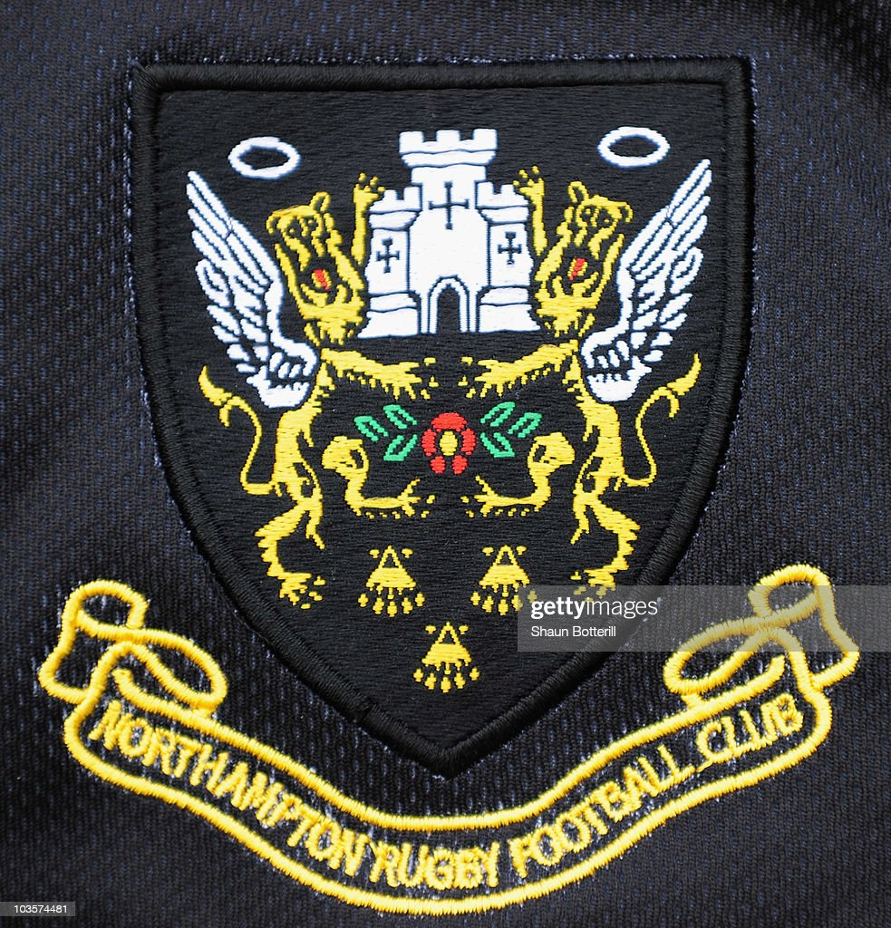 The badge of the home shirt of Northampton Saints at Franklins Gardens on August 24, 2010 in Northampton, England.
