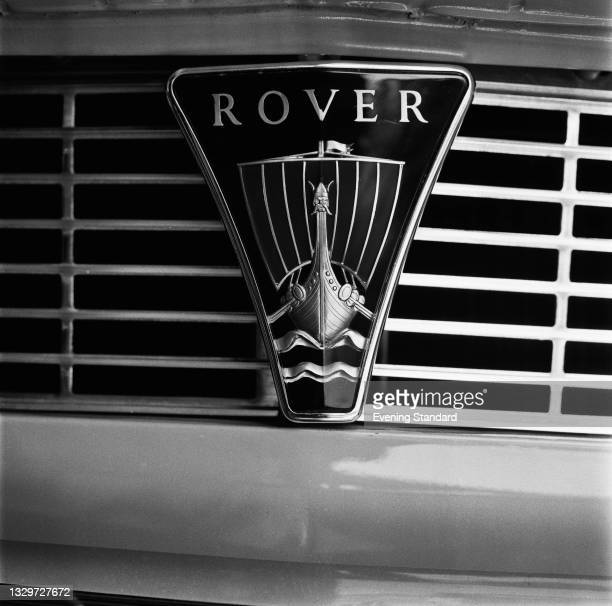The badge of the Rover Company, featuring their distinctive Viking Longship logo, UK, 4th June 1965.