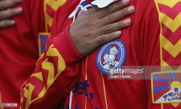 The badge of the Tibetan football team adorns a players jersey before the match between the Republic of St.Pauli and Tibet at the Millerntor Stadium...