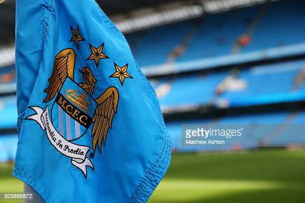 The badge on a corner flag at The Ethiad Stadium home of Manchester City