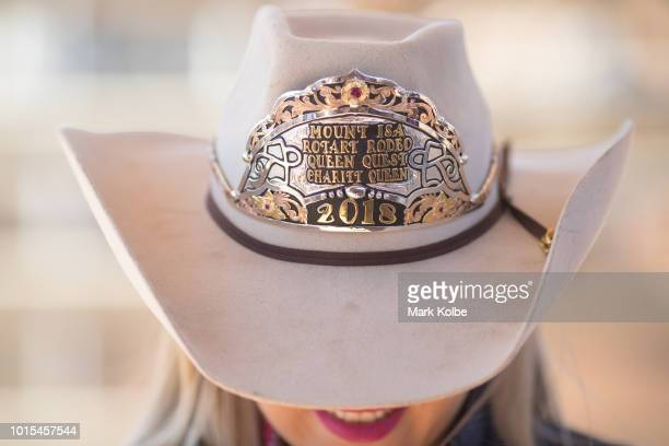 The badge on the 2018 Mount Isa Rotary Rodeo queen quest charity queen Akubra hat is seen at the 2018 Mount Isa Rotary Rodeo at the Buchanan Park...