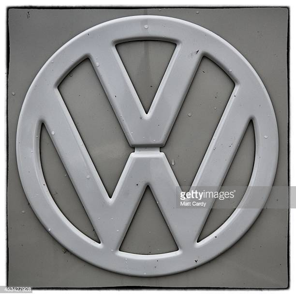 The badge on the front of a Volkswagen Transporter van is seen near Newquay on August 8 2014 in Cornwall England The Volkswagen Transporter was first...