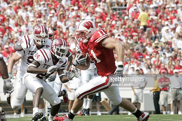 The Badgers tight end Owen Daniels caught 3 touchdowns as the Wisconsin Badgers defeated the Temple Owls 65 to 0 at Camp Randall Stadium in Madison...