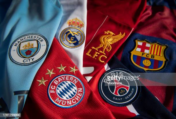 The badges of Manchester City, Bayern Munich, Real Madrid, Liverpool, Paris St-Germain and FC Barcelona, the top teams in the Champions League on...