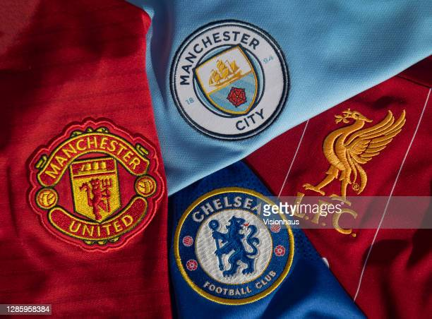 The badges of Manchester United, Chelsea, Manchester City and Liverpool, the clubs from the Premier League in the UEFA Champions League on 13th...