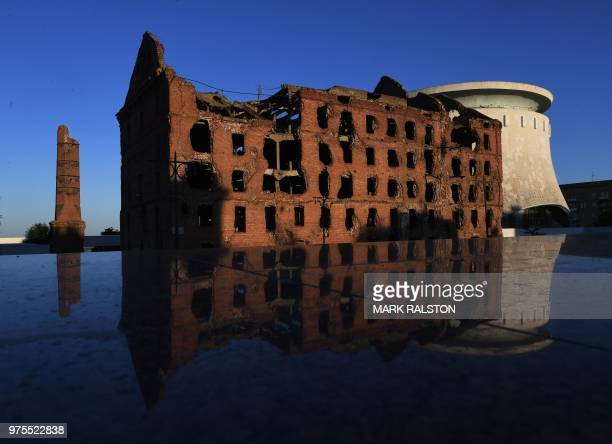 The badly damaged building called Pavlov's House which was the scene of heavy fighting against German forces during World War II, is pictured during...