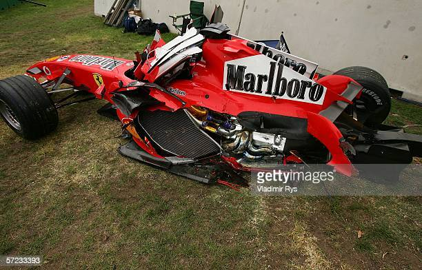 The badly damaged Ferrari of Felipe Massa of Brazil is pictured after crashing out of the Australian Formula One Grand Prix at the Albert Park...