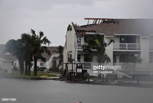 The badly damaged Fulton Beach Resort after Hurricane Harvey hit Rockport Texas on August 26 2017 Hurricane Harvey left a trail of devastation...