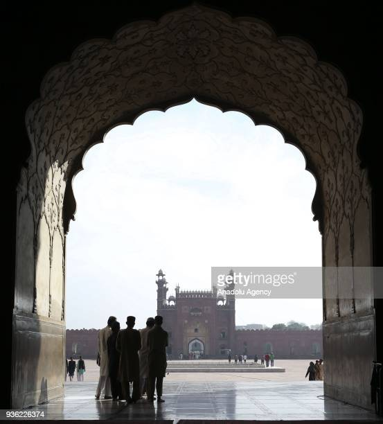 The Badshahi Mosque the secondlargest mosque in Pakistan is seen in Islamabad Pakistan on March 22 2018 It is the example of Mughal architecture and...