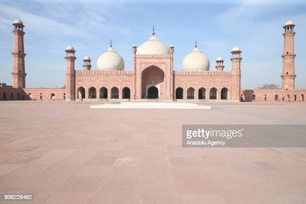 The Badshahi Mosque the secondlargest mosque in Pakistan is seen in Islamabad Pakistan on March 18 2018 It is the example of Mughal architecture and...