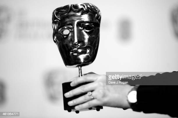The BAFTA award is photographed at the nominations photocall for the EE British Academy Film Awards at BAFTA on January 8 2014 in London England