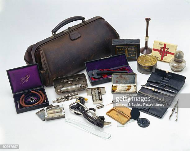 The bag and its contents originally belonged to Professor John Hill Abram and consist of a variety of medical instruments including stethoscopes and...