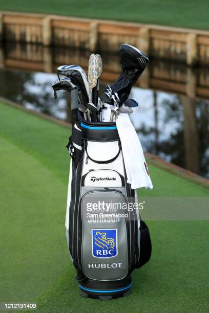 The bag of Dustin Johnson of the United States during the first round of The PLAYERS Championship on The Stadium Course at TPC Sawgrass on March 12...