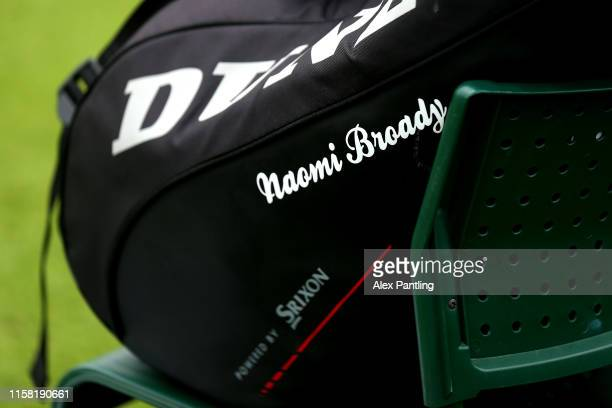 The bag of Naomi Broady of Great Britain is pictured during her singles match against Kristie Ahn of The United States during qualifying prior to The...