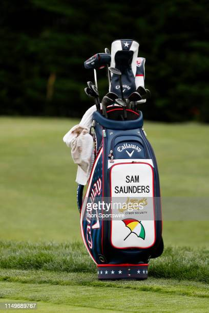 The bag of PGA golfer Sam Saunders the grandson of Arnold Palmer rests near the practice putting green during a practice round for the 2019 US Open...