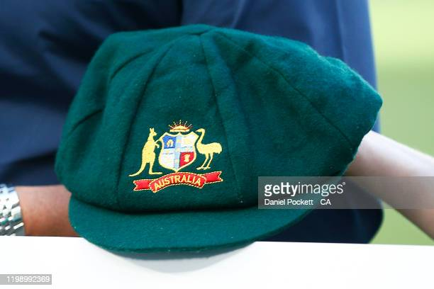 The baggy green cap of Shane Warne is seen ahead of the Big Bash League match between the Melbourne Stars and the Sydney Sixers at the Melbourne...