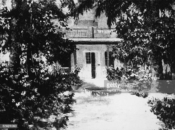 The Baghdad bungalow of English explorer Gertrude Bell Oriental Secretary to the British High Commission in Iraq July 1926 A painting by Edith...