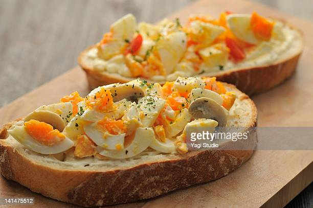 the baguette sandwich of the egg - hard boiled eggs stock photos and pictures