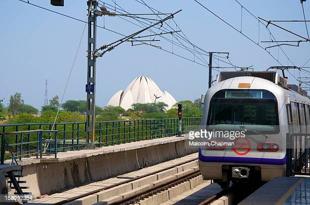 The Bahá'í House of Worship in New Delhi, India, popularly known as the Lotus Temple or Mother Temple seen here from Nehru Place Metro Station. It is...