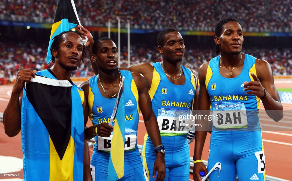 The Bahamas relay team celebrate silver in the Men's 4 x 400m Relay Final held at the National Stadium on Day 15 of the Beijing 2008 Olympic Games on August 23, 2008 in Beijing, China.