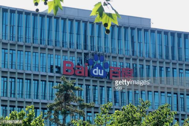 The Baidu Inc. Logo is displayed on the company's headquarters on July 3, 2019 in Beijing, China. The Baidu Create 2019 conference will run from July...