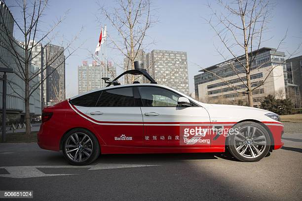 The Baidu Inc's autonomous car stands at the company's headquarters in Beijing China on Tuesday Jan 19 2016 Wang Jing the senior vice president in...
