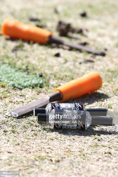 The bails are seen during the Big Bash League match between the Melbourne Stars and the Brisbane Heat at Melbourne Cricket Ground on January 2 2018...