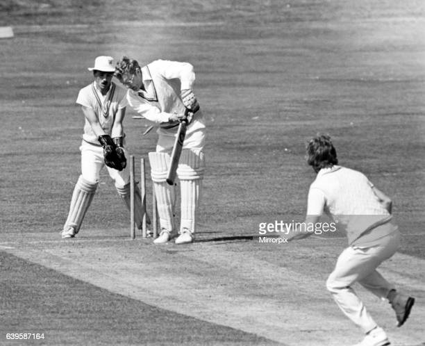 The bails are sent flying as Hartlepool pace bowler Tommy Fountain dismisses Guisborough batsman Graham Street with wicket keeper Des Playfor looking...