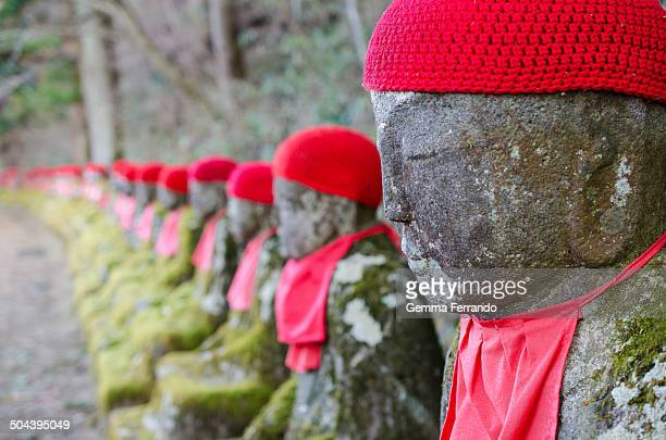The Bakejizo , is a line of around 40 jizo statues lining the banks of a river. They're known as the Ghost Jizo because if you count them on the way...