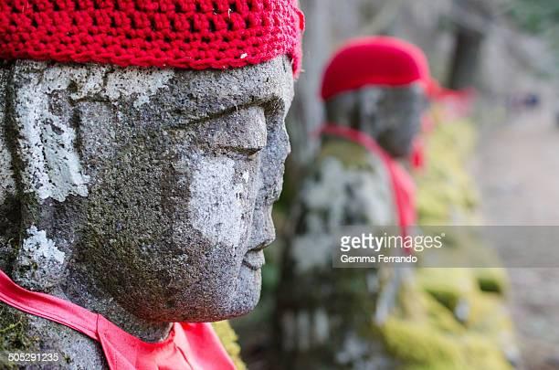 The Bakejizo statues next to the river in Nikko, Japan