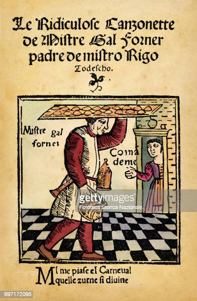 . The baker carries on his head a large tray of sandwiches or biscuits and brings under his arm a musical instrument . Woodcut, Venice 1500