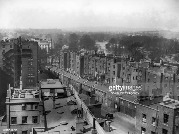 The Baker Street area of London as seen from the roof of Baker Street Station looking north towards Regents Park 2nd May 1929