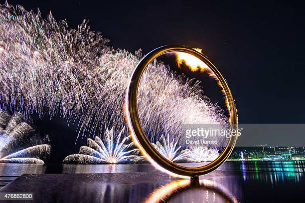 The Baku 2015 European Games cauldron is lit during the Opening Ceremony for the Baku 2015 European Games at Baku's Boulevard on June 12 2015 in Baku...