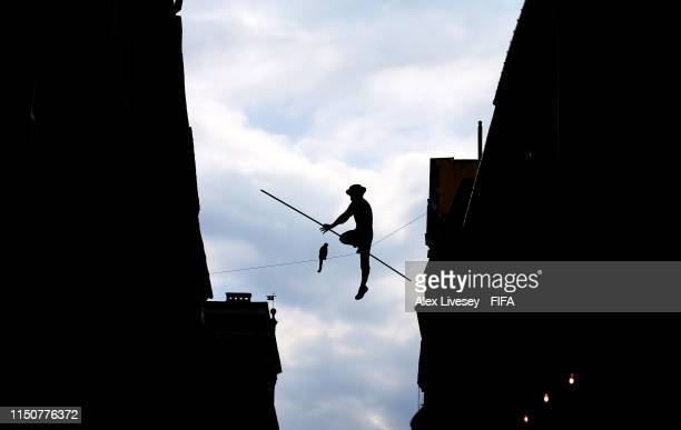 The Balancing Man Sculpture is seen over Grodzka Street in the Old Town area of Lublin prior to the 2019 FIFA U20 World Cup on May 21 2019 in Lublin...
