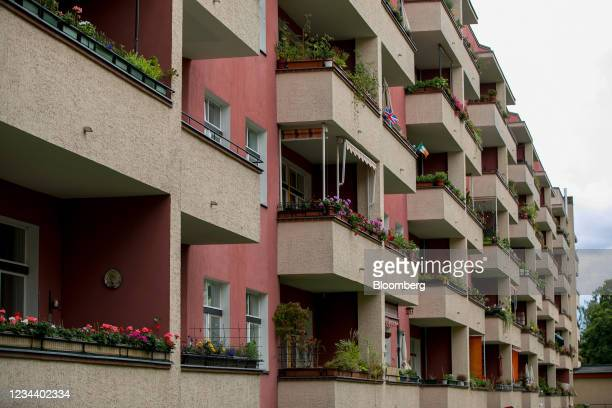 The balconies of residential apartments on the Carl Legien modernist housing estate, operated by Deutsche Wohnen SE, in Berlin, Germany, on Monday,...