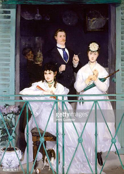 'The Balcony' 1868 Berthe Morisot the violinist Fanny Claus and behind the women is the painter Antonin Guillemet Located at Musee d'Orsay Paris...