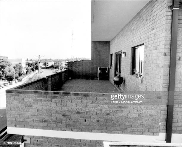 The balcony belonging to the unit owned by Miss Hamilton Dead dancer Sharon Hamilton home unit in Drummoyne July 18 1978