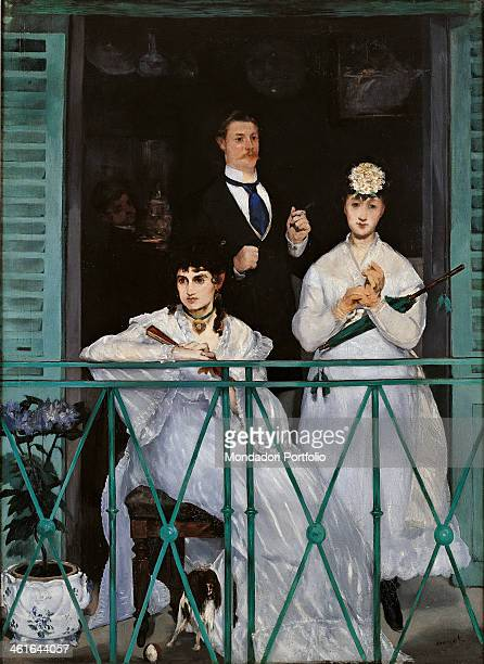 The Balcony, by Edouard Manet, 1868 - 1869, 19th Century, oil on canvas, 170 x 124 cm. France, Paris, Musée d'Orsay. Whole artwork view. Group...
