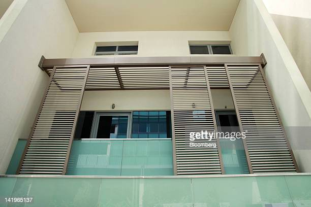The balcony of a property unit is seen in a new apartment block at the Al Muneera development during a media tour organized by Aldar Properties PJSC...