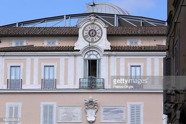 The balcony of the Apostolic Palace of Castelgandolfo where Benedict XVI will make his last public appearance as Pope on February 20 2013 in Rome...