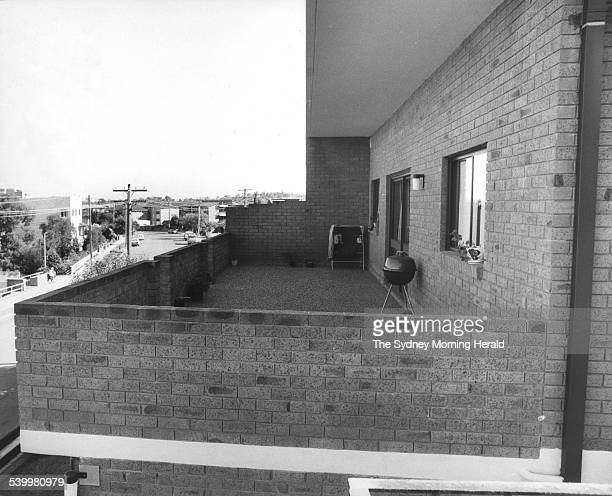 The balcony of the Drummoyne unit belonging to dancer Sharon Hamilton who committed suicide after receiving treatment at Chelmsford Private Hospital...