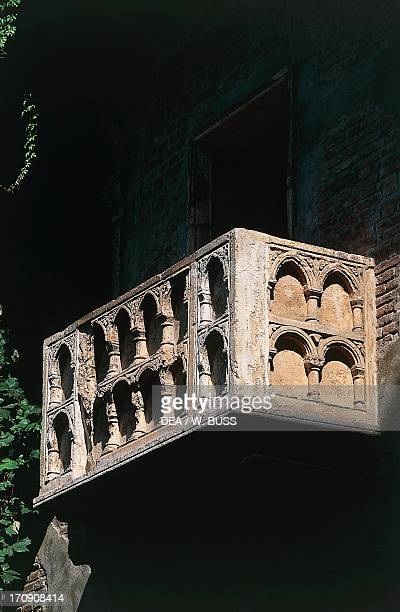 The balcony of the socalled House of Juliet medieval building in the Gothic style Verona Veneto Italy
