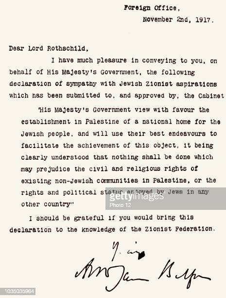 The Balfour Declaration a letter from the United Kingdom's Foreign Secretary Arthur James Balfour Dated 1917